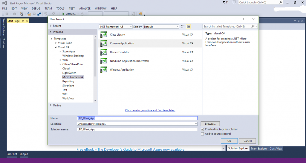 Netduino create new project visual studio