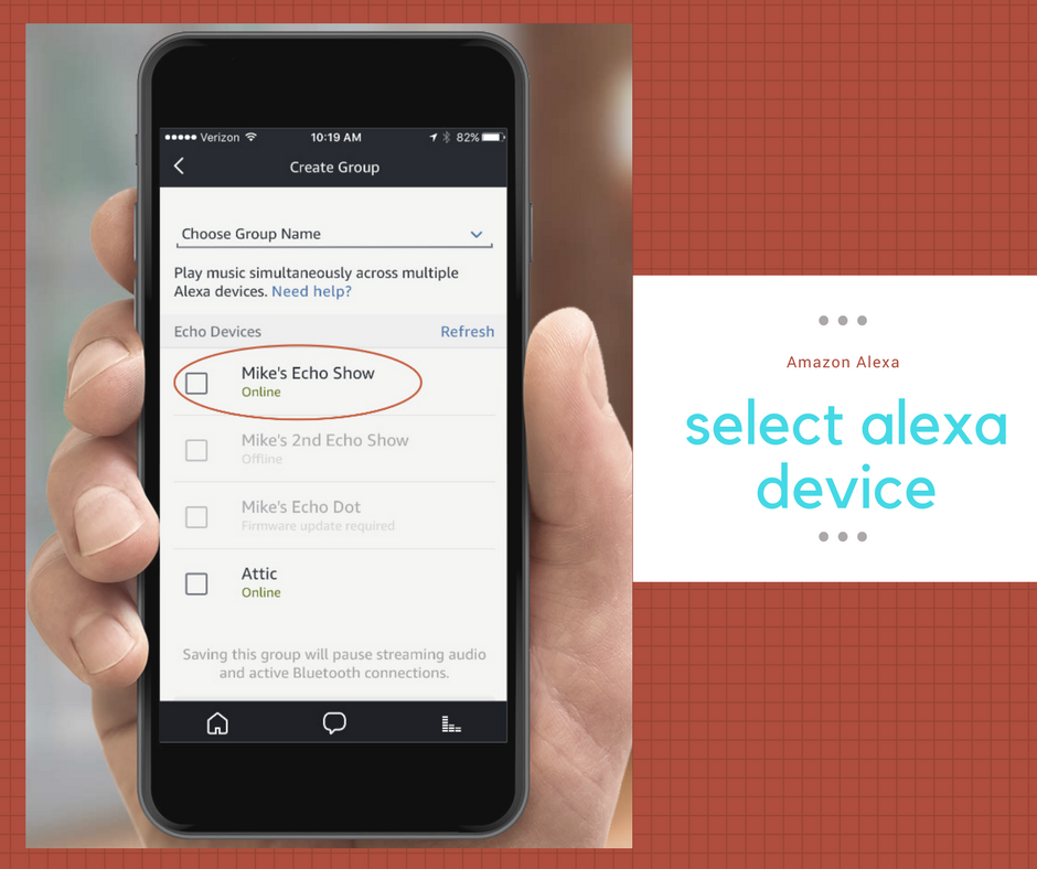 Click on create a group and assign a name to it - Alexa Multi-room Setting
